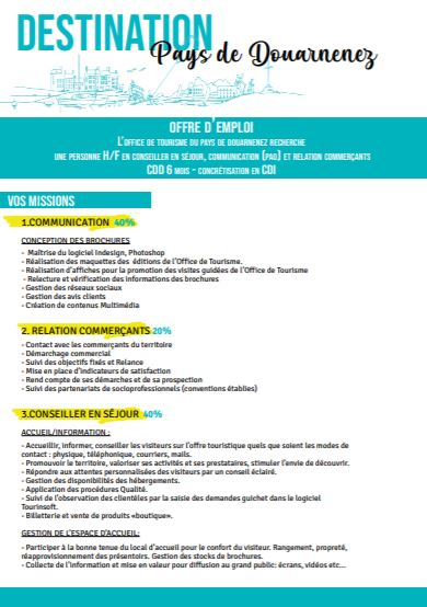 OFFRE D'EMPLOI OFFICE DE TOURISME PAYS DE DOUARNENEZ